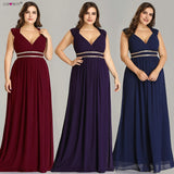 Ever Pretty Plus Size Formal Evening Dresses Long Women Elegant Burgundy V Neck Chiffon Empire Party Gown Robe De Soiree - KB ALL ABOUT SERVICEZ