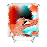 African Woman  Hair Shower Curtain  Bathroom - KB ALL ABOUT SERVICEZ