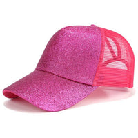 Glitter Ponytail Baseball Cap Women Snapback Dad Hat Mesh Trucker Caps Messy Bun at Female Adjustable Hip Hop Hats - KB ALL ABOUT SERVICEZ