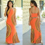 Halter Dress Sleeveless Female Party Dress Ladies Printing Boho Maxi Long Dress Evening Party Dress Plus Size - KB ALL ABOUT SERVICEZ