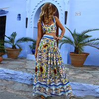 Women Summer Long Dress Bohemian Print Sexy Elegant Party Night Vintage Beach Dress Plus Size - KB ALL ABOUT SERVICEZ