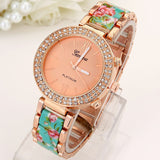 Top Big Crystal Flowers Women Watch Rhinestone Geneva Style Wristwatch Plastic Metal Printed Band Analog Vintage - KB ALL ABOUT SERVICEZ