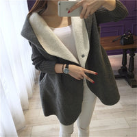 Loose Lamb Wool Cardigan Solid Color Hooded Long Fashion Coat Knitted Sleeve Stitching Warm Jacket - KB ALL ABOUT SERVICEZ