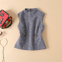women tweed sleeveless tank top and straight pants mid calf two piece runway sets high quality clothes grey - KB ALL ABOUT SERVICEZ