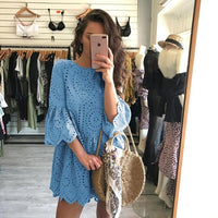 Hollow out embroidery lace dress women Casual ruffles sleeve white dress summer Beach cotton short dress - KB ALL ABOUT SERVICEZ