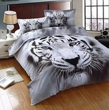 3D white tiger animal twin king full double bedclothes pillowcase duvet cover set bedding set - KB ALL ABOUT SERVICEZ