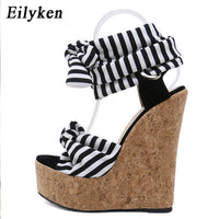 Cotton Fabric Summer Roman Sandals Wedges High Heels Sexy Peep-Toe Platform Shoes Woman - KB ALL ABOUT SERVICEZ