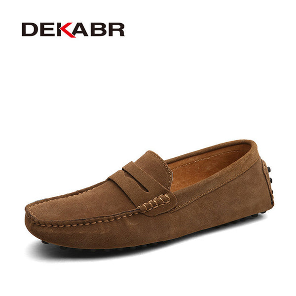 Moccasins Men Loafers High Quality Genuine Leather Shoes Men Flats Lightweight Driving Shoes - KB ALL ABOUT SERVICEZ