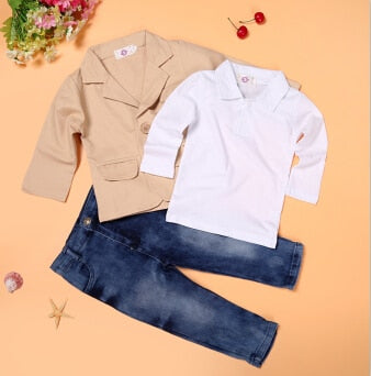 Arrival boys clothes set 3 pcs jacket + T + jeans kids European style loose-fitting costumes children's clothing - KB ALL ABOUT SERVICEZ