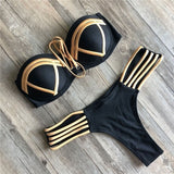Gold Stamping Women Bikini Set Sexy Padded Women Swimsuit Push Up Bikini Swimwear Summer Beachwear Brazil Bathing Suit - KB ALL ABOUT SERVICEZ