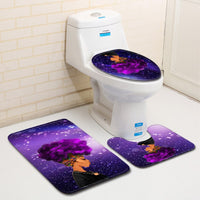 Bathroom Accession 3pcs/Set Star Girl Prited Bathroom Non-Slip Pedestal Rug + Lid Toilet Cover + Bath Mat - KB ALL ABOUT SERVICEZ