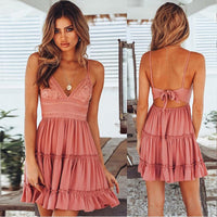 Summer Dress  Bow Dresses  V-neck Sleeveless Beach Backless Lace Patchwork Dress - KB ALL ABOUT SERVICEZ