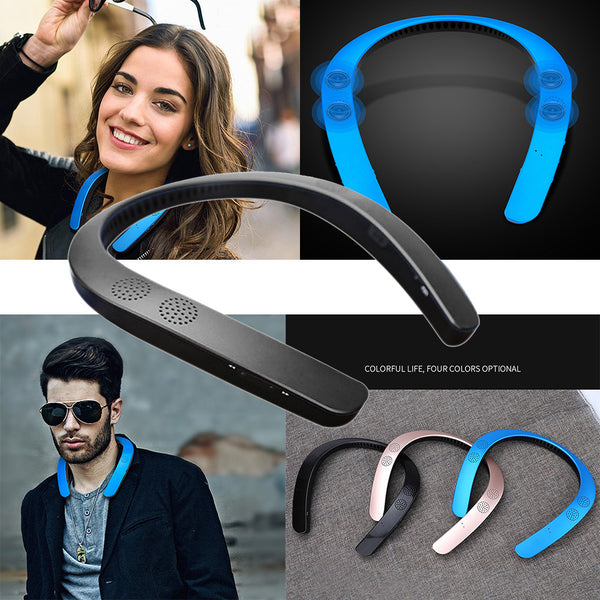 Bluetooth 5.0 wireless neckband neck speaker FM AUX SD USB stereo soundtrack amplifier for iPhone #Zer - KB ALL ABOUT SERVICEZ