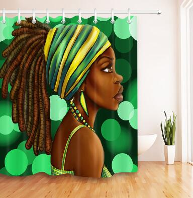 African American Woman Waterproof Shower bathroom Curtain - KB ALL ABOUT SERVICEZ