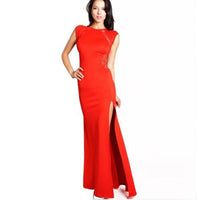Transparent Lace Split Dress Elegant Women Fashion Sexy Sleeveless Slim Maxi Sexy high side slit Robes Dress - KB ALL ABOUT SERVICEZ