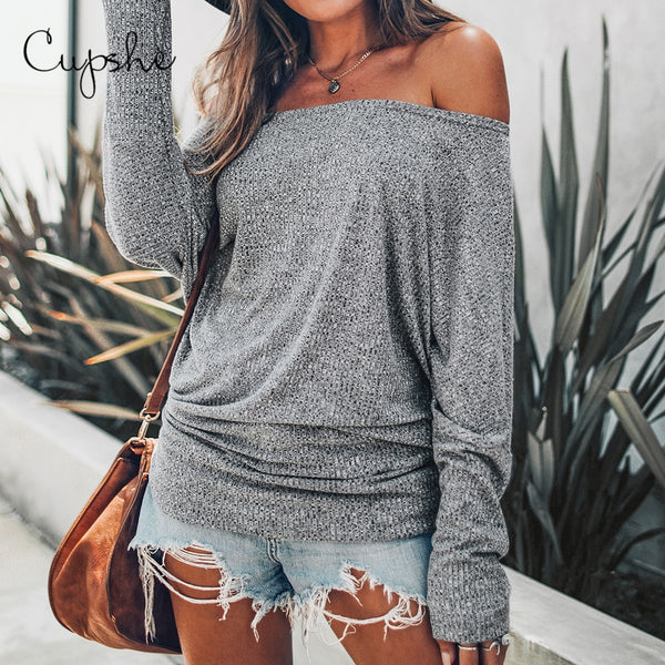 Gray Off The Shoulder Top Sexy Women Long Batwing Sleeve Shirt Tops Blouses - KB ALL ABOUT SERVICEZ