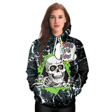 New Arrival Hiphop Hoodies 3D Printed Skull Skeleton Women Hooded Rose Sweatshirt Coats Casual - KB ALL ABOUT SERVICEZ