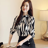 Fashion women's blouse long sleeved printed lady slim office top stand collar blouses - KB ALL ABOUT SERVICEZ