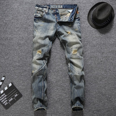 Men Jeans Slim Fit Buttons Jeans Casual Long Pants Ripped Jeans Balplein Brand Classical Jeans Men - KB ALL ABOUT SERVICEZ