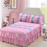 Classic Double Layer Skirt Bedding Set Flower Printing Bed Shirts Bed Linen 3pcs/set Pastoral Bed Sheet Home textile Pillowcase - KB ALL ABOUT SERVICEZ