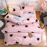 Pink Heart Bedding Sets Quilt Bed Pillow Duvet Cover Set Single/Double/Queen/King Size 3/4pcs Cartoon Home Textile Pillowcases - KB ALL ABOUT SERVICEZ