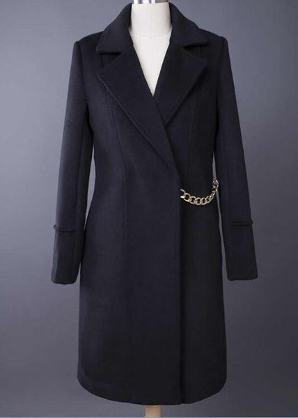 Beckham Winter Wool Coat Fashion Turn-Down Collar Long Sleeve Coat With Chains - KB ALL ABOUT SERVICEZ