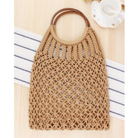 Hand-knitted Hollow Handbag Round Wooden Ring Rattan Handle Ladies Shopping Bag Cotton Rope Net Pocket Holiday Beach Bag - KB ALL ABOUT SERVICEZ