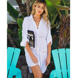 Beach Cover Up Swimsuit White V Neck Bat Sleeves Loose Beach Dresses Swimwear Women Bikini Bathing Suit Summer Beach Wear - KB ALL ABOUT SERVICEZ