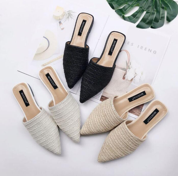 Slippers Fashion Pointed Toe Weave Mules Shoes Flat Slides Summer Beach Flip Flop Outside Slip On Shoes - KB ALL ABOUT SERVICEZ