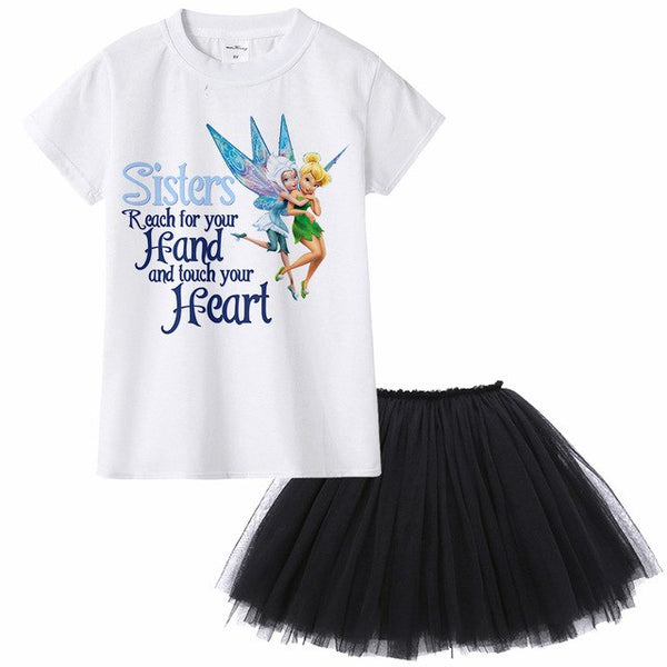 1Yto12Y Tinkerbell Periwinkle Kids Girl Dress Princess Baby T Shirt Tutu Dress Two Piece for Toddler Girl Summer Party Clothes - KB ALL ABOUT SERVICEZ