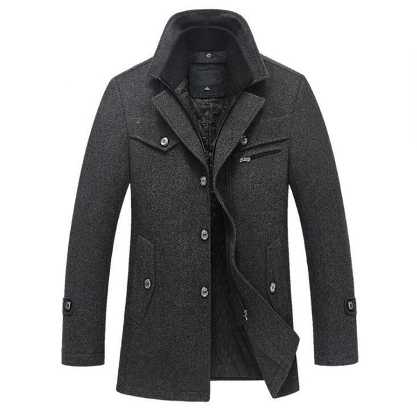 Winter Wool Coat Slim Fit Jackets Men Casual Outerwear - KB ALL ABOUT SERVICEZ