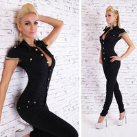 Jean Jumpsuits Buttons Chain Black Overalls For Women Rompers Autumn - KB ALL ABOUT SERVICEZ