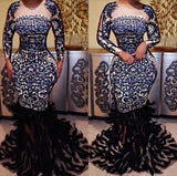 Elastic Long Sleeve Beading Feather Trumpet Dress - KB ALL ABOUT SERVICEZ