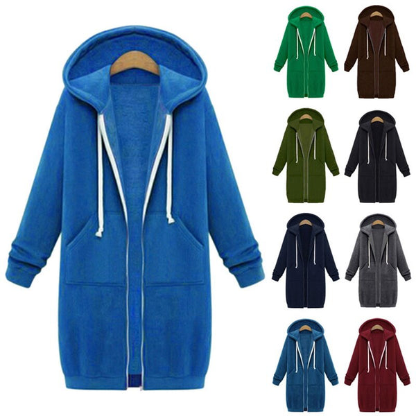 Hoodie Zipper Long Coat Sweatshirt Women Plus Size 5XL Loose Oversized Jacket Coat Women Hoodies - KB ALL ABOUT SERVICEZ