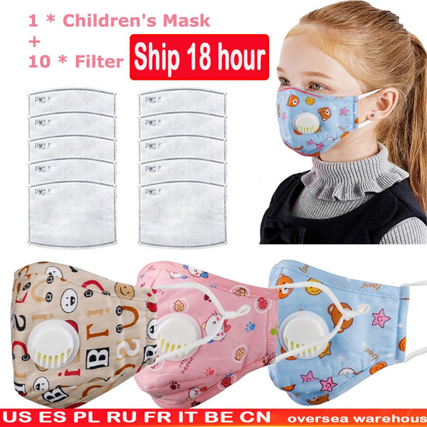 Children Cotton Anti Dust Mouth Mask Activated Carbon Filter Windproof With Breathing Valve Face Mouth Masks Respirator - KB ALL ABOUT SERVICEZ