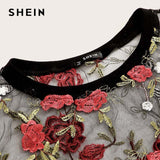 Floral Embroidery Sheer Mesh Sexy Crop Blouse Women Summer Round Neck Short Sleeve Elegant Top Blouses - KB ALL ABOUT SERVICEZ