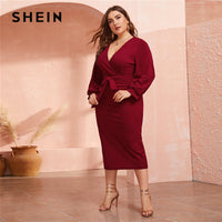 Burgundy Plunging Neck Wrap Belted Pencil Long Dress Women - KB ALL ABOUT SERVICEZ