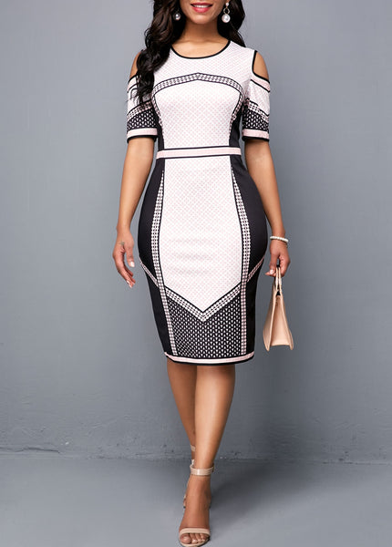 Lady Pencil Print Short None Knee length Regular  Professional Formal Dress - KB ALL ABOUT SERVICEZ
