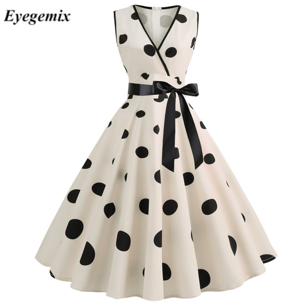 Dresses  1950s 60s Rockabilly Polka Dot Bow Pinup Ball Grown Party Robe Plus Size Vestidos - KB ALL ABOUT SERVICEZ