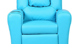 Costway Kids Recliner Armchair Children's Furniture Sofa Seat Couch Chair w/Cup Holder Blue - KB ALL ABOUT SERVICEZ