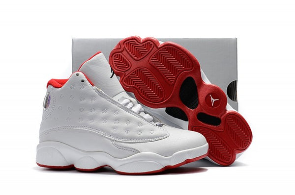 Preschool Jordan Retro 13 Whtie Red Kids Boys Girls Basketball Shoes Grade School Sneakers - KB ALL ABOUT SERVICEZ