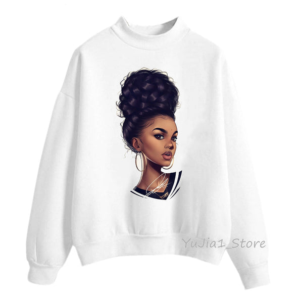 Poppin hoodies women clothing Beautiful black curly hairs girl printed sweatshirt women sudadera mujer - KB ALL ABOUT SERVICEZ