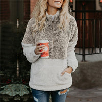 Warm Zip Sweater Long Sleeve Fleece Pullover Outwear Coat Pockets Plush Loose Cotton Soft Female Coat Jacket - KB ALL ABOUT SERVICEZ
