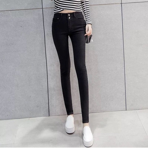 Fashion Autumn 2019 Slim High Waist Woman Jeans Pencil Pants Simple Casual Women's Ankle-length Jeans Femme Skinny Pants - KB ALL ABOUT SERVICEZ
