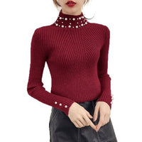 Women Pearl Beaded Sweater O-Neck Long Sleeve Slim Women Knit Sweater and Pullover SW854 - KB ALL ABOUT SERVICEZ