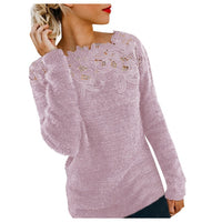 Elegant Women Lace Sweaters Flower Appliques Knitted Pullovers Female Long Sleeve Winter Jumper Slim Casual Tops Warm Knitwear - KB ALL ABOUT SERVICEZ