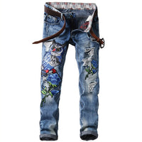 MORUANCLE New Fashion Men's Ripped Patches Jeans Slim Fit Eagle Embroidered Denim Pants Male Distressed Hip Hop Jean Trousers - KB ALL ABOUT SERVICEZ