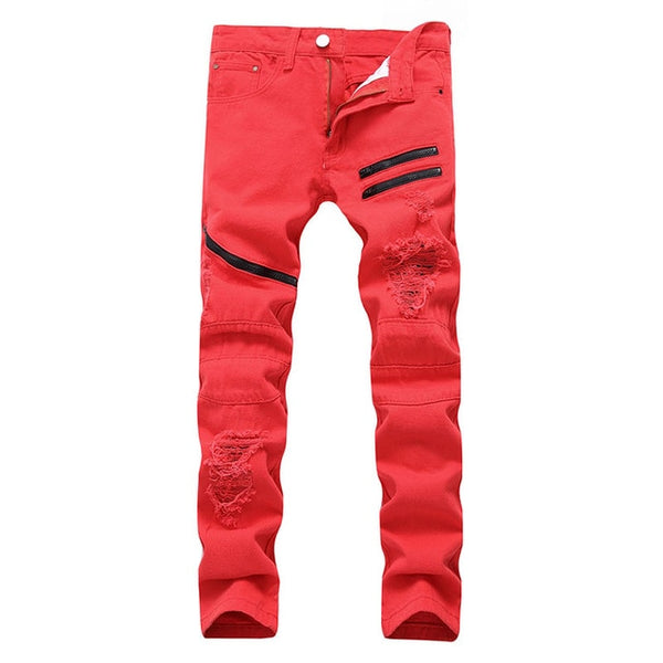 Fashion Men's Ripped Jeans Straight Fit Denim Pants With Holes Stretch Hip Hop Zippers Jean Trousers For Men - KB ALL ABOUT SERVICEZ