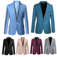 Fashion Spring Autumn Men Blazer Long Sleeve Solid Color Slim Man Casual Thin Suit Jacket Office Blazers Plus Size S-6XL H9 - KB ALL ABOUT SERVICEZ