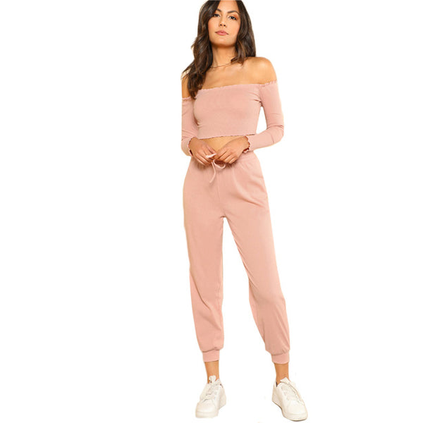SHEIN Women 2 Piece Set Top and Pants Casual Woman Set Pink Off the Shoulder Crop Bardot Top and Drawstring Pants Set - KB ALL ABOUT SERVICEZ